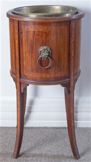 Sale 8800 - Lot 57 - A Georgian mahogany jardiniere on outswept legs, with brass insert and lion mask ring pull handles, H 66 x D 34cm