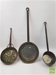 Sale 8439F - Lot 1842 - Three Copper Utensils with Long Handles incl. Pot, Pan and Strainer