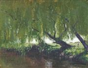 Sale 8538 - Lot 552 - Elioth Gruner (1882 - 1939) - Willow Tree and Sheep 30.5 x 39.5cm