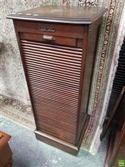 Sale 8559 - Lot 1066 - Early 20th Century Oak Office Filing Cabinet, with tambour shutter (locked) & on plinth base