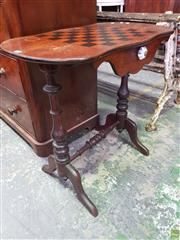 Sale 8617 - Lot 1023 - Victorian Pine Chess Table, with serpentine shaped top, drawer below & turned dark stained base