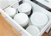 Sale 8741A - Lot 69 - A drawer full of dinner bowls and plates mostly white