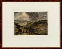 Sale 8934H - Lot 43 - After J M W Turner, a hand-coloured engraving of Arundel Castle, engraved by G M Phillips, frame size 13cm x 41cm