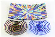 Sale 8994 - Lot 2 - Pair of swirl patterned art glass dishes together with another
