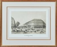 Sale 9090H - Lot 17 - A framed print of Le Grand hotel Paris, Frame size 66cm x 81cm