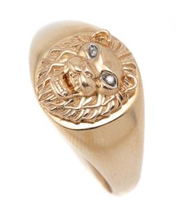 Sale 9107J - Lot 329 - A GENTS 9CT GOLD DIAMOND SET LION RING; signet ring featuring a lions head with round brilliant cut diamond set eyes, size Y, width...