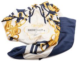 Sale 9145 - Lot 396 - AN HERMES BRIDES DE GALA SILK SCARF; navy border with hand rolled edge, 85 x 85cm, very minor wear.