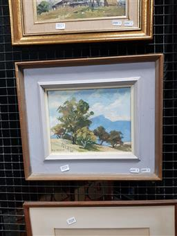 Sale 9127 - Lot 2026 - Rhys Williams  Afternoon in the Valley, oil on canvas on board, frame: 33 x 38 cm, signed lower left
