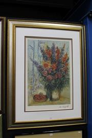 Sale 8347A - Lot 56 - Marc Chagall (1887 - 1985) - Bouquet with Bowl of Cherries 63 x 42cm