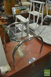 Sale 8337 - Lot 1098 - Curved Glass Top on Chrome Base Magazine Stand