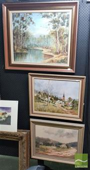Sale 8544 - Lot 2042 - 3 Artworks Various Artists, Landscapes, Oils, Various Sizes