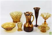 Sale 8626 - Lot 54 - Amber Glass Collection Including Vases And Bowls
