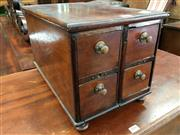 Sale 8666 - Lot 1049 - Small Timber Desk Top Chest of Four Drawers, with brass knobs