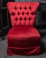 Sale 8761A - Lot 33 - A red velvet button back boudoir chair, Height of back 80cm, W 60cm