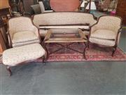 Sale 8868 - Lot 1192 - Edwardian Four Piece Suite incl. Pair of Tub Chairs, Three Seater & Foot Stool