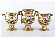 Sale 8897 - Lot 68 - An Early Graduated set of C19th Imari Pattern Spode Vases (Height of tallest - 15cm)