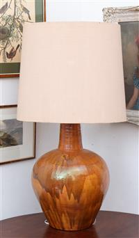 Sale 8934H - Lot 44 - A toffee glazed large ceramic baluster lamp and shade, total Height 103cm