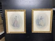 Sale 8981 - Lot 2097 - Pair of Decorative Fashion Prints in Ornate Gilt Frames (Frame size: 57 x 47cm)