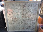 Sale 9034 - Lot 1010 - Large Timber Framed Pressed Tin Ceiling Panels (129 x 129cm)