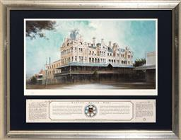 Sale 9113 - Lot 2067 - Rex Newell (1939 - 2016) - Shamrock Hotel, Bendigo, VIC 22 x 42 cm (frame: 46 x 58 x 2 cm)