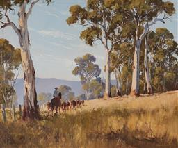 Sale 9125 - Lot 515 - Kevin Best (1932 - 2012) Hearding the Cows oil on canvas on board 49.5 x 60 cm (frame: 71 x 80 x 5 cm) signed lower right