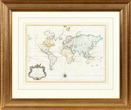 Sale 9130S - Lot 26 - Framed map for Prevosts Histoire generale des Voyages, frame size 96cm x 113cm