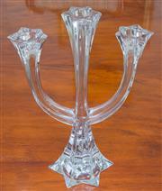 Sale 8341A - Lot 44 - A tall Villeroy and Boch lead crystal 3 light candelabra, H 30cm