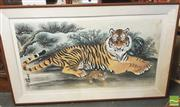 Sale 8413T - Lot 2080 - Oriental Water Colour on Paper Tiger & Cub - 167 x 101cm