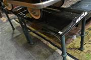 Sale 8515 - Lot 1078 - Pair of Smokey Glass Top Side Tables on Metal Base