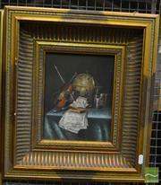 Sale 8552 - Lot 2034 - Artist Unknown, Still Life with Violin, Oil, 24x19cm