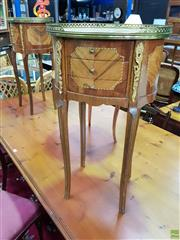 Sale 8562 - Lot 1036 - Pair of Louis XVI Style Marquetry Bedside Cabinets