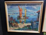 Sale 8619 - Lot 2013 - Artist Unknown - Seaside Village oil on canvas 75 x 85cm  (frame size) signed lower left