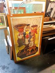 Sale 8631 - Lot 2075 - Framed African Fabric Art Depicting Women -