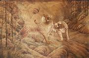 Sale 8714 - Lot 1067 - Large Antique Japanese Silk Stitch of Tigers, in bamboo thicket (120 x 182 cm, taped to borders)