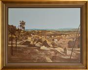 Sale 8960J - Lot 84 - Ray Crooke - Far North Township, oil on board