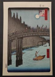 Sale 9057 - Lot 19 - Kobayashi bridge themed woodblock print from 100 view of Edo series, marked Hiroshige (38cm x 25.5cm)