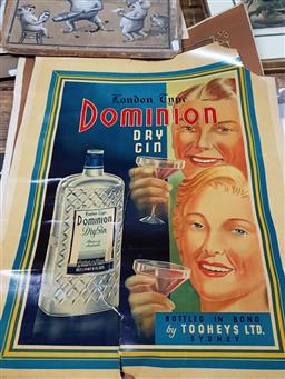 Sale 9155 - Lot 2081 - Two advertisements for Dominion Dry Gin and Tooheys Stout (unframed, A.F) -