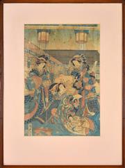 Sale 8349A - Lot 101 - Artist Unknown (XX) (2 works) - Geishas (diptych) 34 x 23cm, each