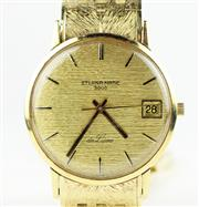 Sale 8402W - Lot 50 - ETERNA-MATIC 3000 DE LUXE 18CT GOLD WRISTWATCH; textured gold dial with centre seconds, applied markers, date on a 17 jewell automat...