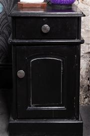 Sale 8761A - Lot 34 - A pair of black painted pot cupboards, H x 66cm, W x 40cm, D x 40cm