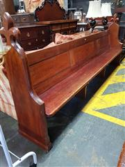 Sale 8774 - Lot 1099 - 19th Century Cedar Church Pew, the raised ends with fleur-de-lys, ex. St. Johns Anglican Church, Bega (H: 118 W: 290 D: 42cm)