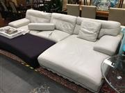 Sale 8851 - Lot 1022 - Kelvin Giomarni Two Piece White Leather Lounge