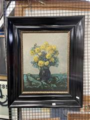 Sale 8927 - Lot 2060 - Artist Unknown Yellow and Blue Still Lifeoil on board, 70 x 60cm (frame), initialled