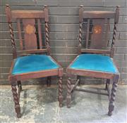 Sale 8959 - Lot 1027 - Pair of Oak Barley Twist Chairs with Shell Cameo Backs (H: 100, W: 46cm)