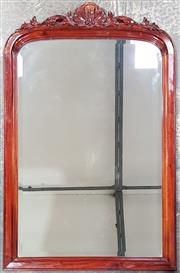 Sale 8971 - Lot 1046 - Timber Framed Mirror, with carved pediment (H:108 x W:68cm)