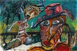 Sale 8992 - Lot 584 - Michael (Mike) Nicholls (1960 - ) - Artist & Nude, 1986 38 x 57 cm (frame: 60 x 76 x 4 cm)