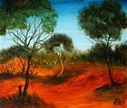 Sale 9013 - Lot 519 - Kevin Charles (Pro) Hart (1928 - 2006) - Outback Landscape 29 x 34 cm (frame: 38 x 43 x 3 cm)