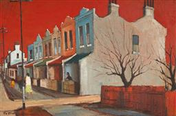 Sale 9125 - Lot 514 - Ric Elliot (1933 - 1995) Terraces oil on board 29 x 44.5 cm (frame: 44 x 60 x 4 cm) signed lower left