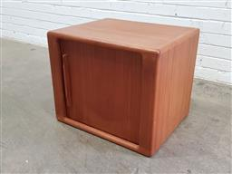 Sale 9151 - Lot 1083 - Danish Teak stationary cabinet with tambour door (h:50 x w:60 x d:49cm)
