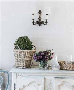 Sale 9200P - Lot 35 - A French wicker basket, buxus not included, Height 37cm x (handle to handle) Width 35cm